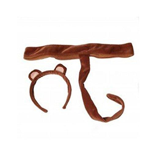 Plush Monkey Headband Ears Tail Safari Dressup Play