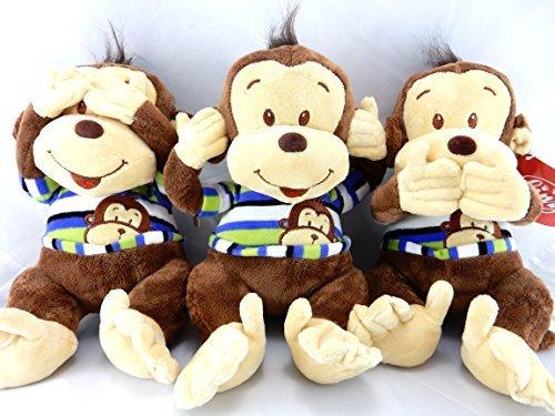 Plush Monkeys - Hear See Speak No Evil 9 Set of Three Blue and Green