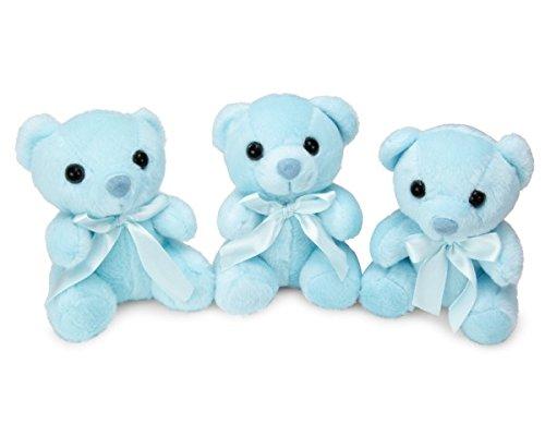 Redi Plush 5 Mini Stuffed Teddy Bears Set of 3 - Blue