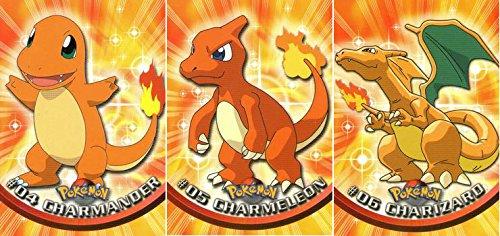 Charmander Charmeleon and Charizard - Pokemon Card Evolution Set Topps 04 05 and 06