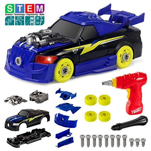 Take Apart Racing Car Toys with Drill Tools STEM 26 Pieces Racing Car Toy Kit Vehicle Assembly Set with Lights Engine Sounds Building Your Own Car Toy Set Gifts for Kids Boys Girls