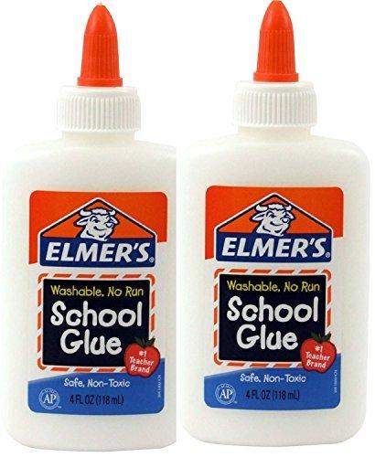 Elmers Washable No-Run School Glue 4 oz 2 Bottles E304