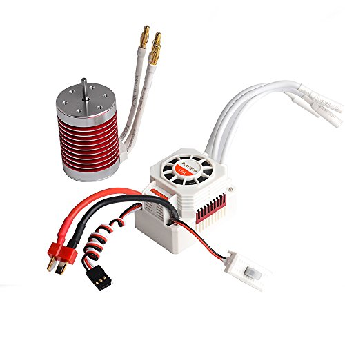 Jrelecs F540 4370KV 4 Pole 3175mm Waterproof Brushless Motor with 45A Waterproof ESC Electronic Speed Controller for 110 110 Scale RC car WLtoys 1042812428 HG P601