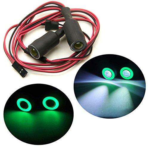 Jack-Store 2 Leds Angel Eyes LED Light HeadlightsTaillightBack Light 13MM Outer Diameter for 110 RC Crawler Car GreenWhite