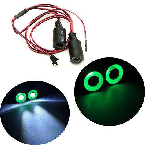 Jack-Store 2 Leds Angel Eyes LED Light HeadlightsTaillightBack Light 17MM Outer Diameter for 110 RC Crawler Car GreenWhite