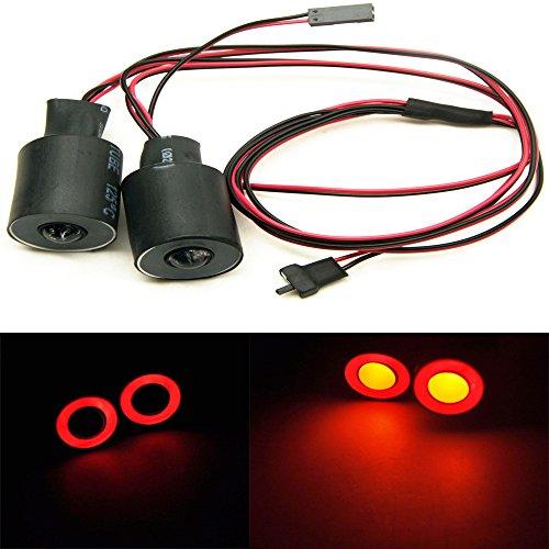 KingModel-CA 22mm 2 Leds Angel Eyes LED Light HeadlightsTaillight for 110 RC Crawler Car Red&Yellow