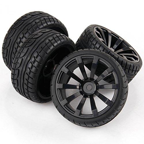 Yiguo 10-spoke Wheel Rims and Diagonal Pattern Rubber Tires for RC 110 Flat Car Set of 4