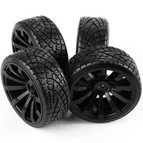 Yiguo 4pcs 10-Spoke Plastic Wheel Rim and Fish Pattern Rubber Tires for RC 110 Racing Flat Car Black
