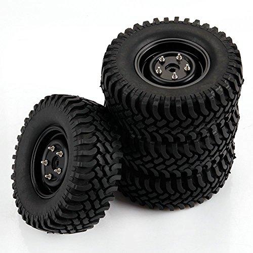 Yiguo Aluminum Wheel Rims and 100mm Tires for RC 110 Climbing Car Black Set of 4