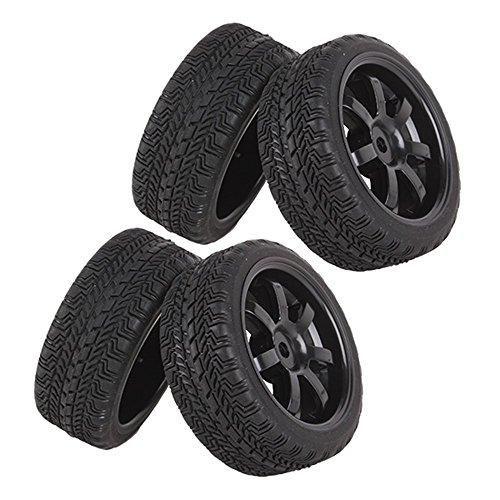 Yiguo Black 7-Spoke Plastic Wheel Rim High Grip Rubber Tyre for RC 110 On-road Racing Car Set of 4