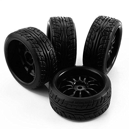 Yiguo Black Plastic 12-Spoke Wheel Rims and Diagonal Pattern Tires for HSP HPI RC 110 Drift Car set of 4