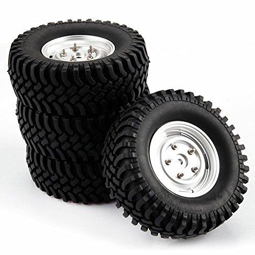 Yiguo Silver Aluminum Wheel Rim and Black 100mm Tires for RC 110 Climbing Car Black set of 4