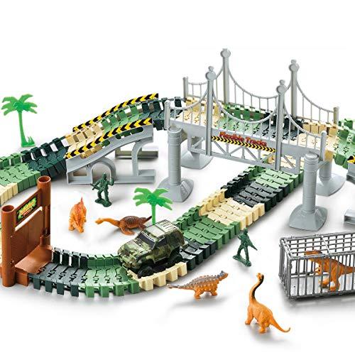 YICTEK Dinosaur Race Track Car Train Boys Toys Girls 144 Pcs Toy Car Flexible Track Playset Toy Cars with 6 Dinosaurs for 3 4 5 6 7 Year Old Boys Girls Kids