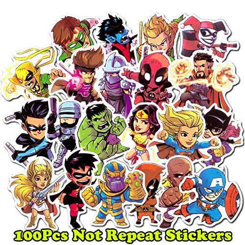 100Pcs Superhero Spiderman Batman Superman Hulk Children Stickers for Luggage Laptop