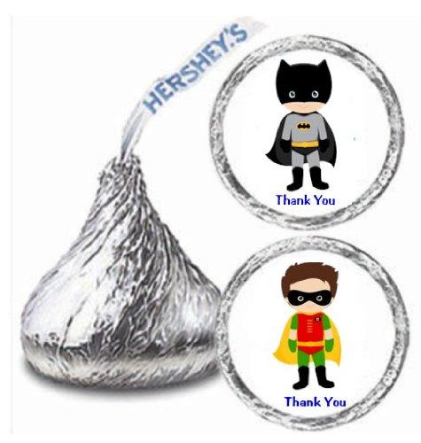 Maestro 216 Super Hero Batman Robin Hershey Kiss Stickers Labels Party Favors