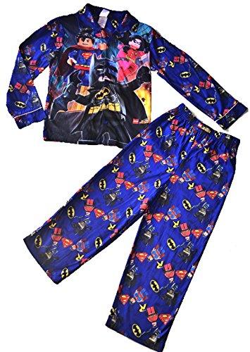 Royal Boys Blue Lego DC Super Heroes Batman Superman Boys Long Sleeve Button Up Pajama Set