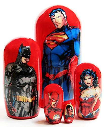 Superheroes Superman Batman Wonder Woman 5-Piece 45 Russian Nesting Doll Toy