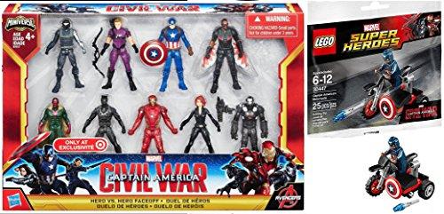 Marvel Hero Faceoff Exclusive Captain America Civil War Action Figures Avengers Set  Lego Super Heroes Captain America Motorcycle Mini Figure 30447