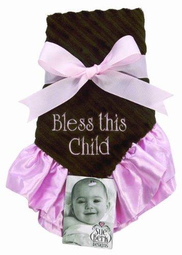 Sue Berk Designs Bless This Child Baby Blankie PinkBrown by Sue Berk Designs