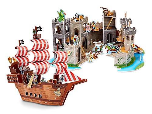 Melissa Doug 3-D Puzzle Kits Set Pirate Ship and Medieval Castle