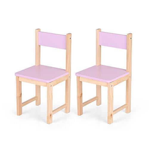 iKayaa Set of 2 Wooden Kids Chair Set Children Stacking School Chair Furniture Purple