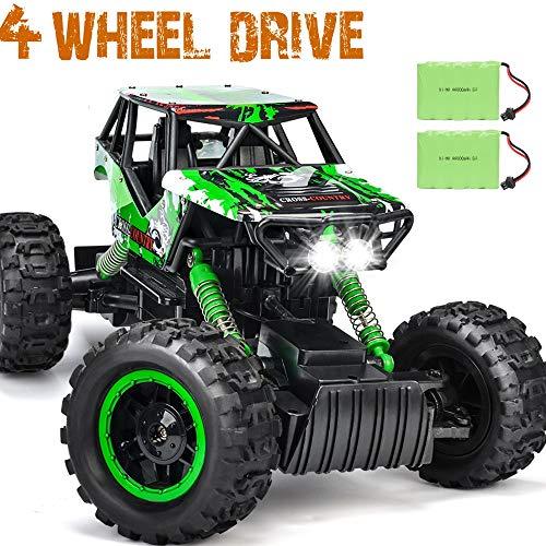 DOUBLE E Dual Motors 112 Remote Control Car Rock Crawler 4WD Rechargeable Vehicles Off-Road Car Green