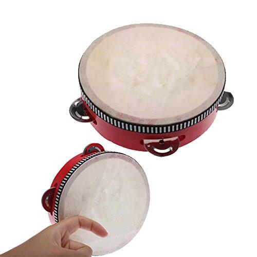 PuraidTM Toy Musical Instrument Hand Durm Educational Musical Instrument Mini Hand Drum Children Tambourine Red