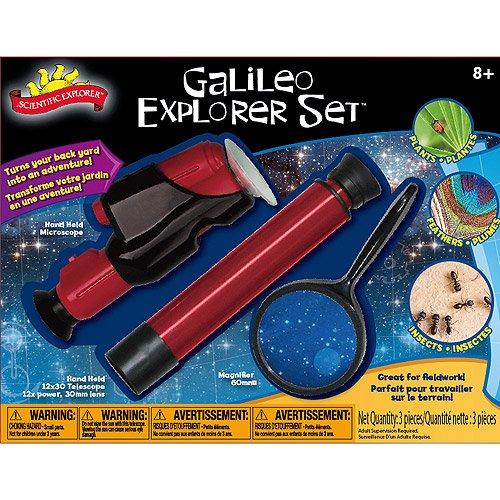 Galileo Explorer kids science Set w Magnifying Glass 40X zoom microscope