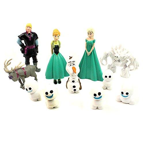 Frozen Figures Toys Cake Toppers 12 pcs Anna Elsa Olaf Kristoff Sven Snowgies