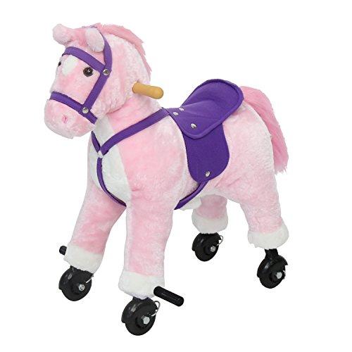 Peach Tree Kids Plush Toy Rocking Horse Walking Toddler Riding Toy Animal Rocker Pink Pony Ride on Plush with Wheels Sound Pink
