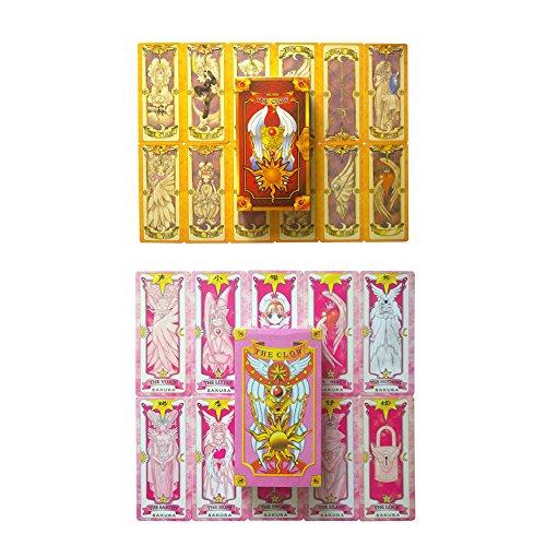 Animenz Cardcaptor Sakura Magical Clow Card Set  Sakura Cards Set Tarot Cards Pokers Kinomoto Sakura Cosplay Prop 2 x 56 pcs  1 x Star Wand Pendant