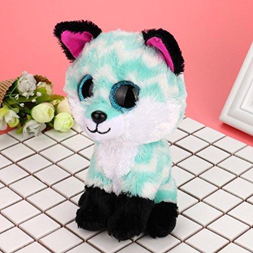 Hongxin Ty Beanie Boos Dotty Multicolor Leopard Big Eyes Beanie Baby Plush Stuffed Doll Toy Collectible Soft Big Eyes Toys Kids Creative Birthday Gift Green Fox