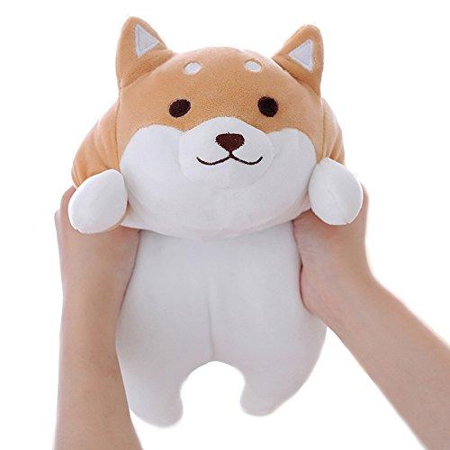 Levenkeness Shiba Inu Dog Plush Pillow Cute Corgi Akita Stuffed Animals Doll Toy Gifts for Valentines Gift ChristmasSofa Chair Brown Round Eye 15