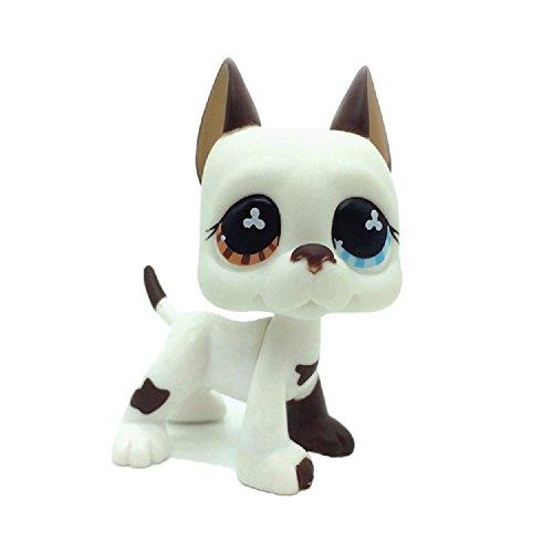 kenven Rare LPS Littlest Pet Shop White Brown Great Dane Dog Puppy Blue Eye Toy 577