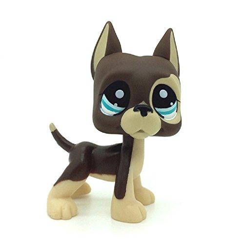 kenven Rare Littlest Pet Shop LPS Brown Great Dane Dog Puppy Blue Dot Eyes Toy 1519