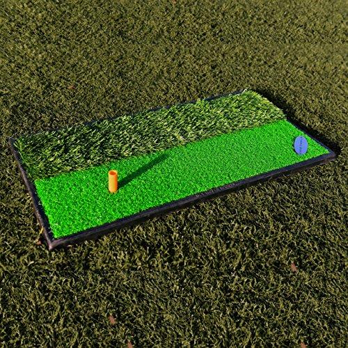 FORB Launch Pad Golf Practice Mat 2-in-1 FairwayRough 24in x 12in - Mini Golf Mat Combining Realistic Fairway Semi-Rough Lies Net World Sports 2 in 1