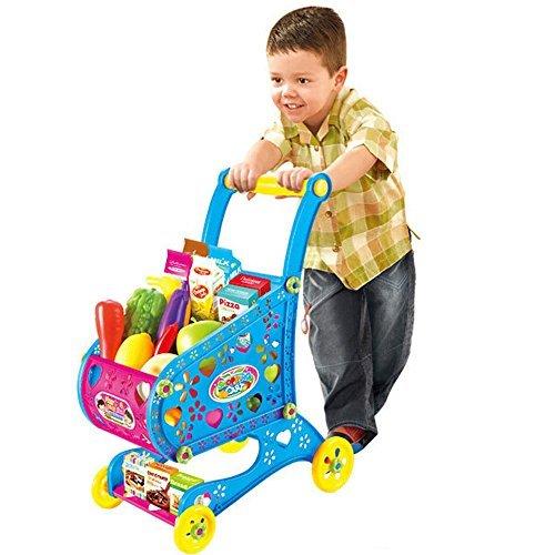 GJJ Kids Shopping Cart Fruit Walker Playset ToyBlue