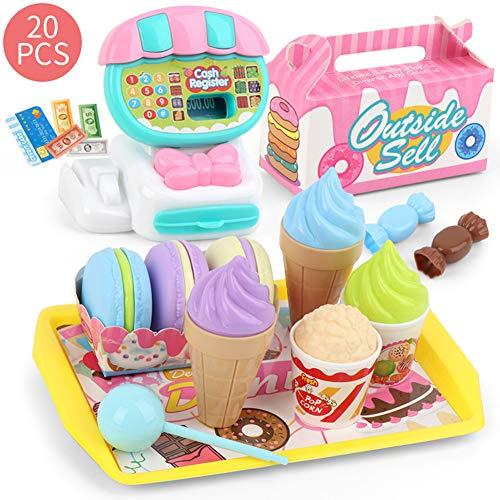 liuqingwind Children Shop Cash Register Fruit Vegetable Dessert Pretend Play Children Toy Supermarket Cashier Play Toys Dessert