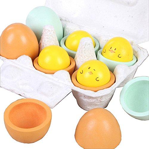 B&Y 6pcs Wooden Easter Eggs Yolk Pretend Children Play Kitchen Game Food Kids Toy