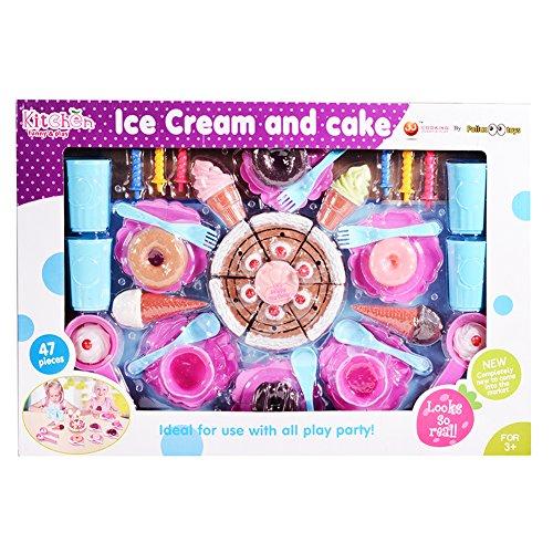 Emorefun Kids Plastic Play Food Set Pretend Play Cake and Icecream with Tea Set Toys Tea Party Playset 47 Pieces