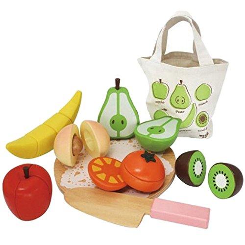 Aivtalk Kids Children Wooden Magnetic Cutting Fruit Vegetable Toys Set Educational Toys