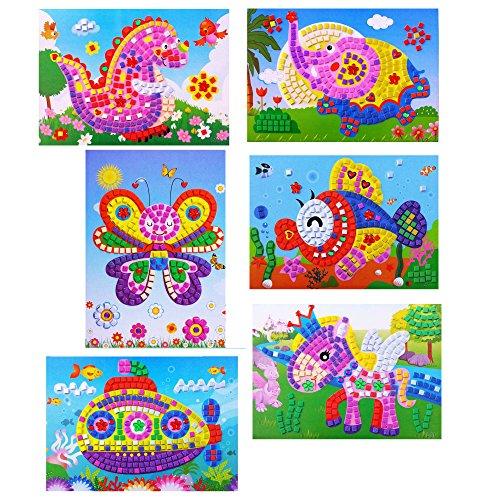 Oveelando6in11mosaics Sticky Elephantfishdinosaurspaceshippegasusbutterfly Cardsheetpictures for Kids Peelstickdisplaymosaic Sticker