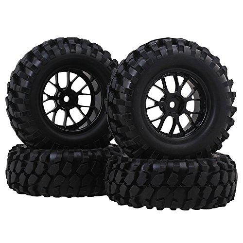 BQLZR RC110 Rock Crawler Gravel Shape Pattern Rubber Tires Black Plastic Y-Shaped Wheel Rim Pack of 4