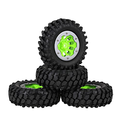 Mxfans Black Gravel Pattern Rubber Tyre Green Plastic 10 Holes Wheel Rim with Titanium Color Alloy Beadlock for RC 110 Rock Crawler Pack of 4