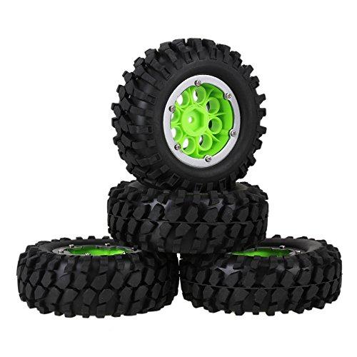 Mxfans Green Plastic 8 Holes Wheel Rim with Titanium Color Alloy Beadlocks Black Gravel Shape Pattern Rubber Tires for RC 110 Rock Crawler Pack of 4