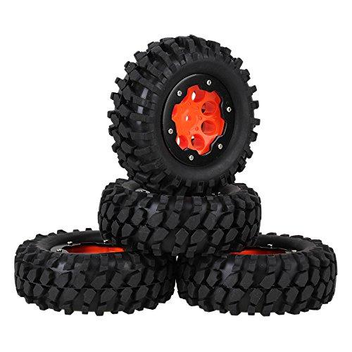 Mxfans Orange Plastic 8 Holes Wheel Rim with Black Alloy Beadlocks  Black Gravel Shape Pattern Rubber Tires for RC 110 Rock Crawler Pack of 4