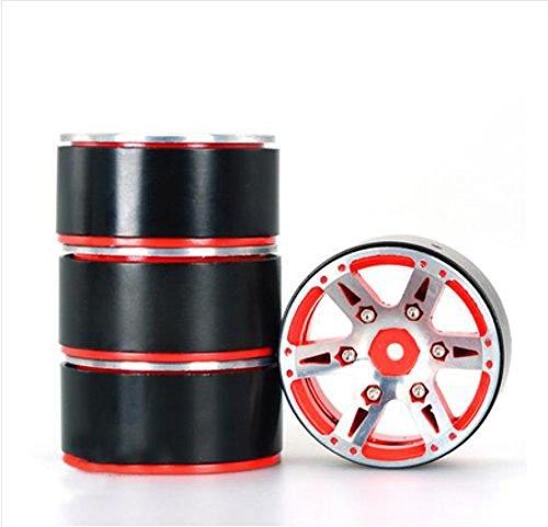 Meijunter 4PCS 19 Wheel Rims Metal Rims Set for 110 RC Crawler Axial Wraith SCX10 D90 Color Red