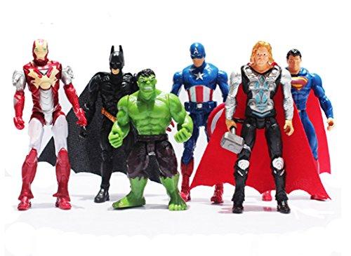 Superheroes The Avengers Batman Superman Iron Man Hulk Thor Captain America Joint Moveable PVC Figure Model Toys 6 Pieces