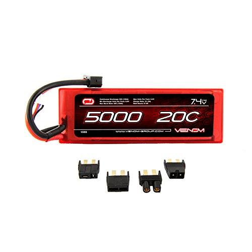 Venom LiPo Battery for Traxxas Stampede 4x4 VXL 20C 74 5000mAh 2S with Universal Plug
