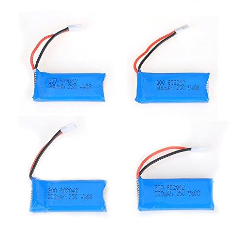 LegoW 1PCS 37v 500mah Lipo Battery for Hubsan X4 H107 H107l H107c H107d V252 Jxd385 RC Quadcopter Battery Drone Battery RC Spare Parts